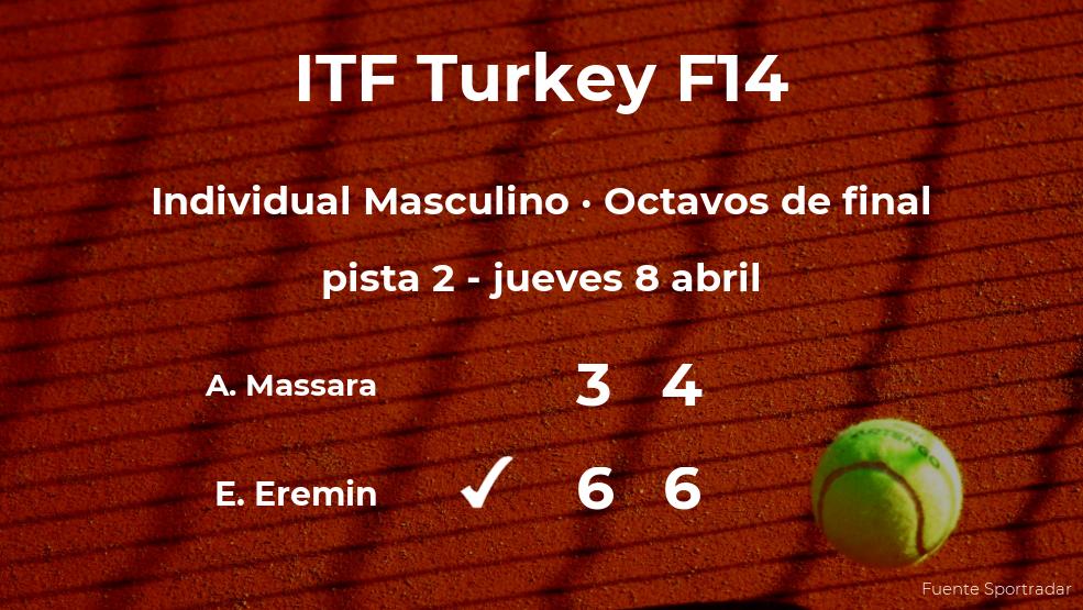 El tenista Edoardo Eremin, clasificado para los cuartos de final del torneo de Antalya