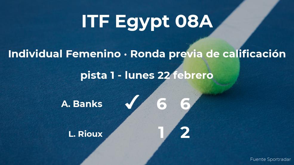 La tenista Amarni Banks ganó a Lisa- Marie Rioux en la ronda previa de calificación del torneo de Sharm El Sheikh
