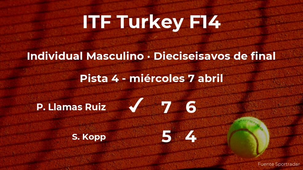 Pablo Llamas Ruiz pasa a la siguiente ronda del torneo de Antalya tras vencer en los dieciseisavos de final