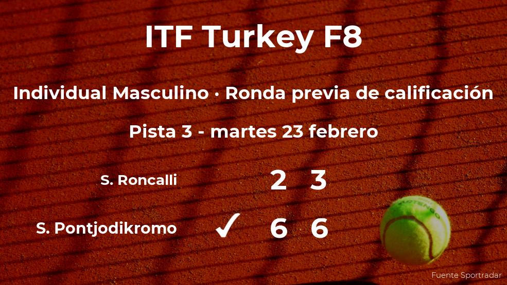 Sidane Pontjodikromo logra vencer en la ronda previa de calificación a costa de Simone Roncalli