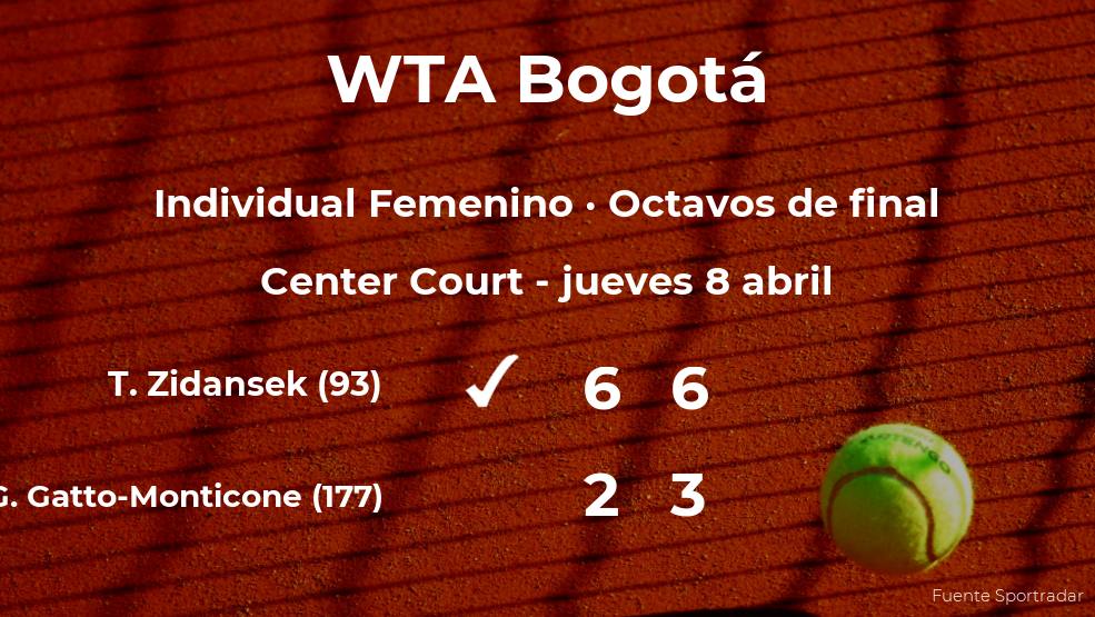 La tenista Tamara Zidansek, clasificada para los cuartos de final del torneo WTA 250 de Bogotá