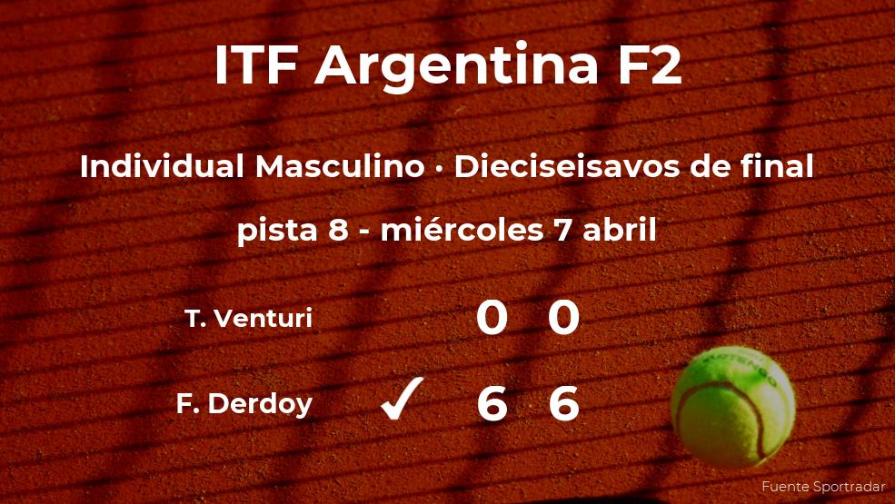 Felipe Derdoy logra el puesto de los octavos de final a expensas del tenista Tomas Venturi