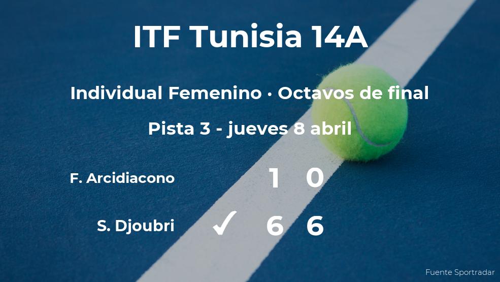 La tenista Salma Djoubri pasa a los cuartos de final del torneo de Monastir