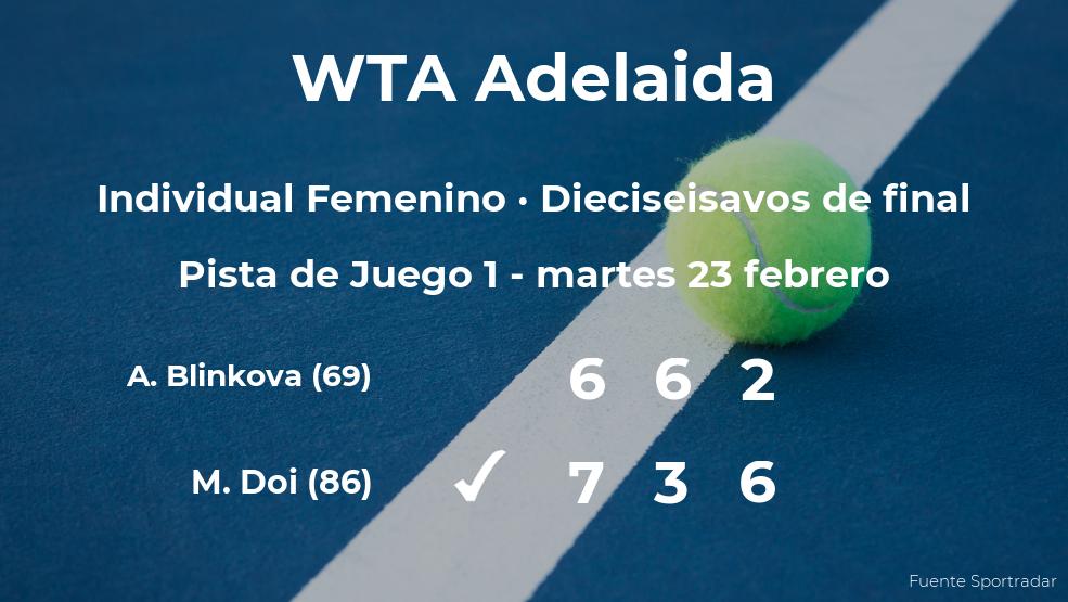 La tenista Misaki Doi consigue clasificarse para los octavos de final del torneo WTA 500 de Adelaida