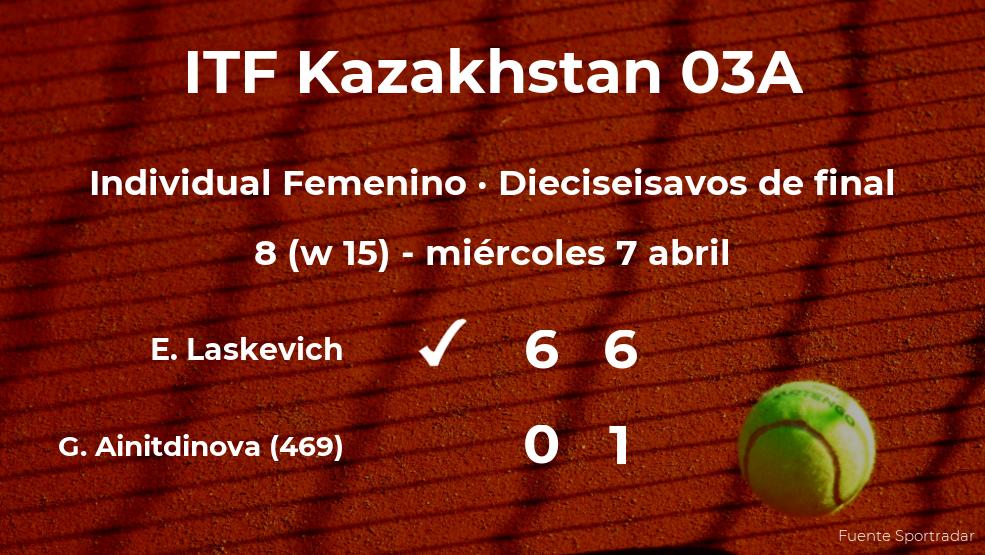 La tenista Evialina Laskevich estará en la siguiente fase del torneo de Shymkent tras dar la sorpresa en los dieciseisavos de final