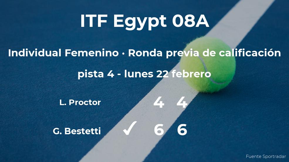Giuliana Bestetti ganó a Lauren Proctor en la ronda previa de calificación del torneo de Sharm El Sheikh