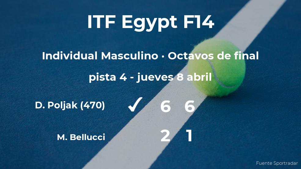El tenista David Poljak le arrebata el puesto de los cuartos de final al tenista Mattia Bellucci