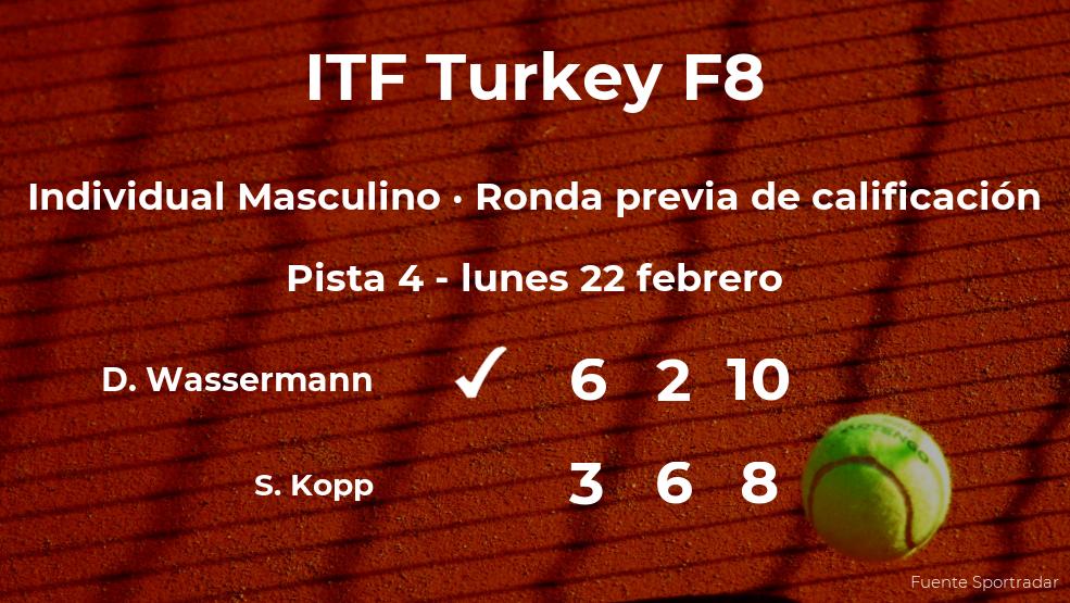 El tenista Deney Wassermann vence en la ronda previa de calificación del torneo de Antalya
