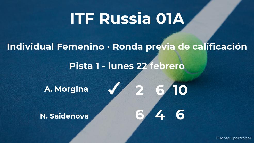 La tenista Anna Morgina consigue la plaza para la siguiente fase tras ganar en la ronda previa de calificación