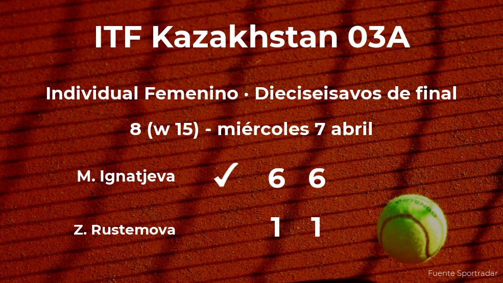 Margarita Ignatjeva le quita la plaza de los octavos de final a Zhanel Rustemova