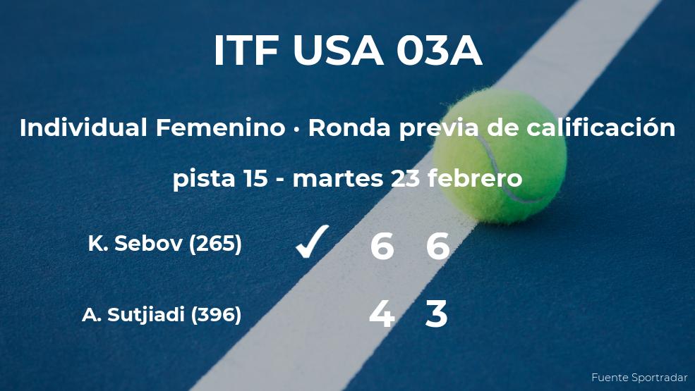 Victoria de la tenista Katherine Sebov en la ronda previa de calificación