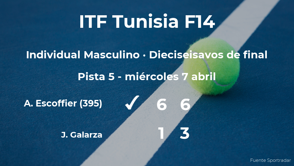 El tenista Antoine Escoffier consigue clasificarse para los octavos de final del torneo de Monastir