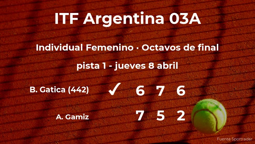 La tenista Barbara Gatica, clasificada para los cuartos de final del torneo de Córdoba