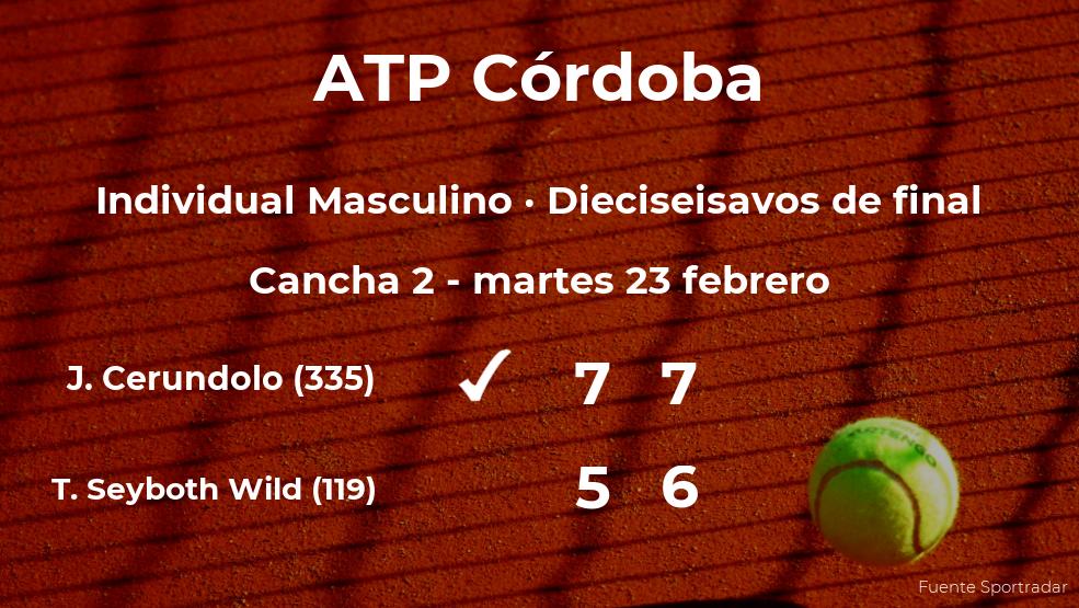 El tenista Juan Manuel Cerundolo consigue la plaza de los octavos de final a costa de Thiago Seyboth Wild