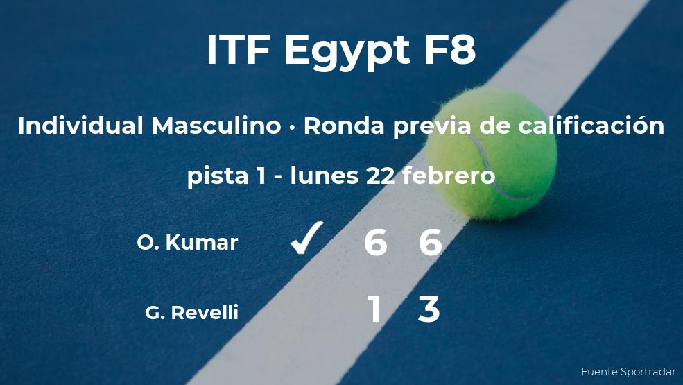 El tenista Omni Kumar venció a Giacomo Revelli en la ronda previa de calificación del torneo de Sharm El Sheikh