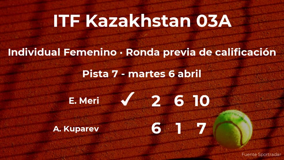 La tenista Eszter Meri consigue ganar en la ronda previa de calificación contra la tenista Anastasiya Kuparev