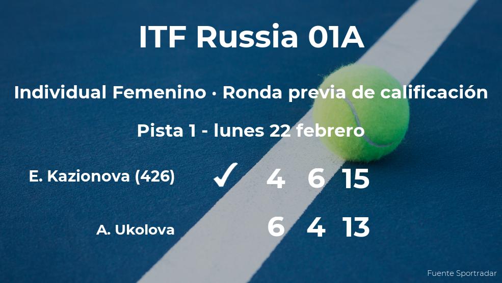 La tenista Ekaterina Kazionova consigue la plaza para la siguiente fase tras ganar en la ronda previa de calificación