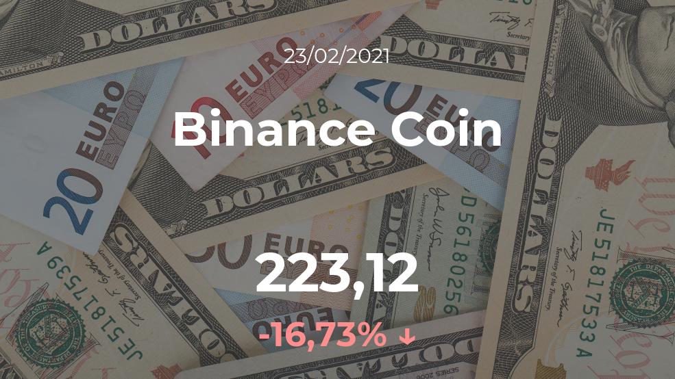 Cotización del Binance Coin del 23 de febrero