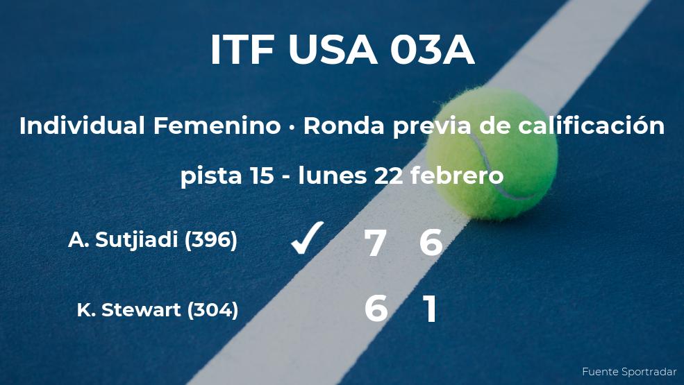 La tenista Aldila Sutjiadi ganó a Katerina Stewart en la ronda previa de calificación del torneo de Boca Ratón