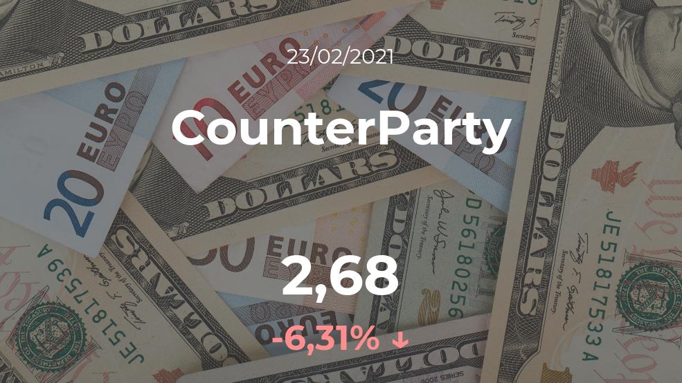 Cotización del CounterParty del 23 de febrero