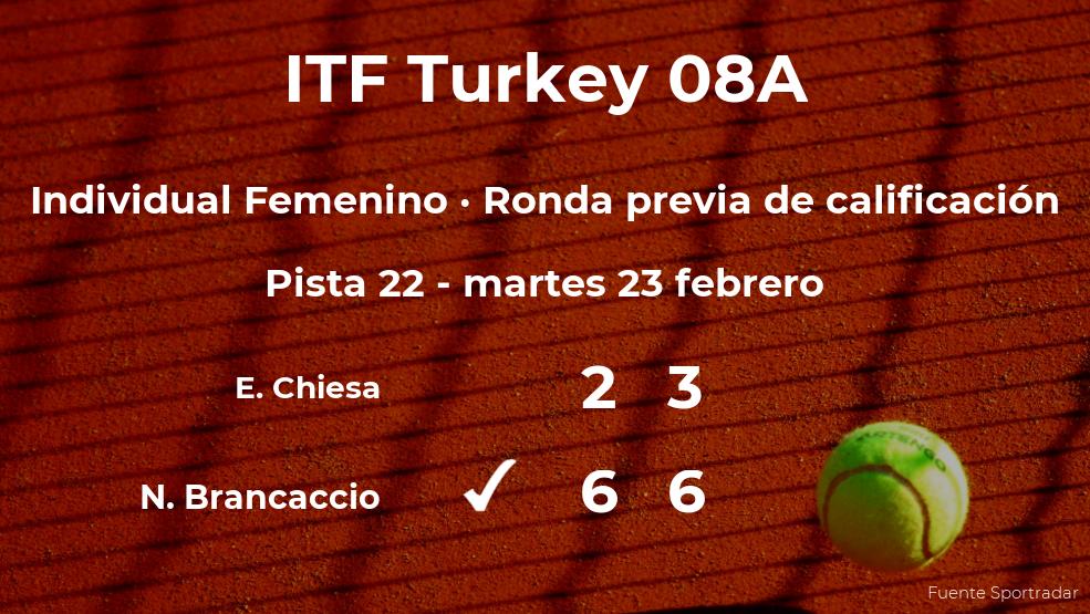 La tenista Nuria Brancaccio consigue vencer en la ronda previa de calificación a costa de Enola Chiesa