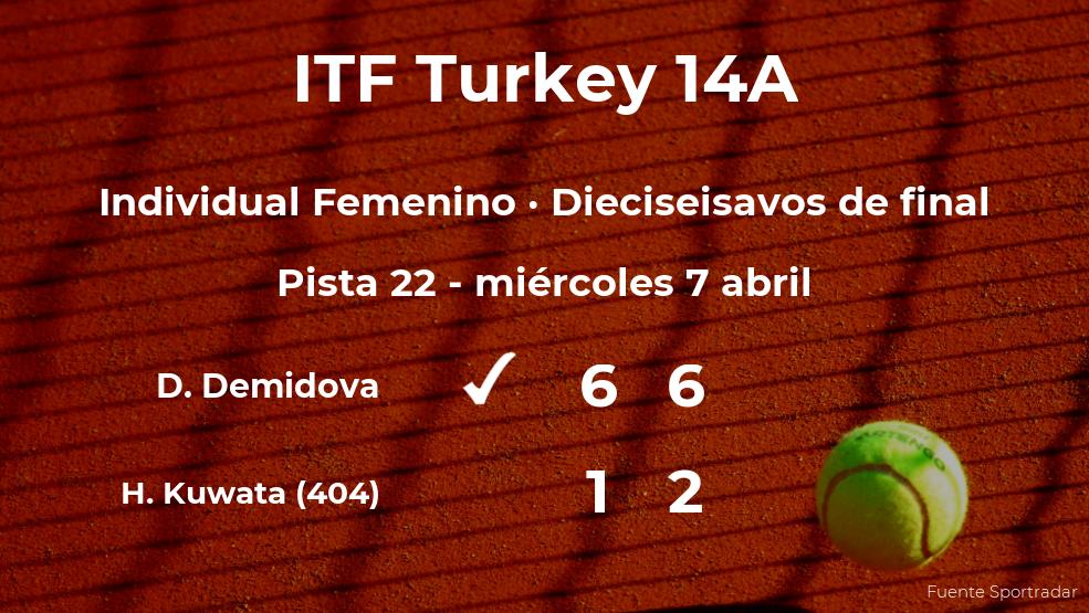 Diana Demidova gana en los dieciseisavos de final del torneo de Antalya