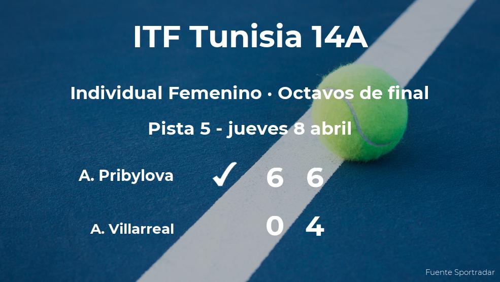 Anastasia Pribylova consigue la plaza de los cuartos de final a expensas de la tenista Andrea Renee Villarreal