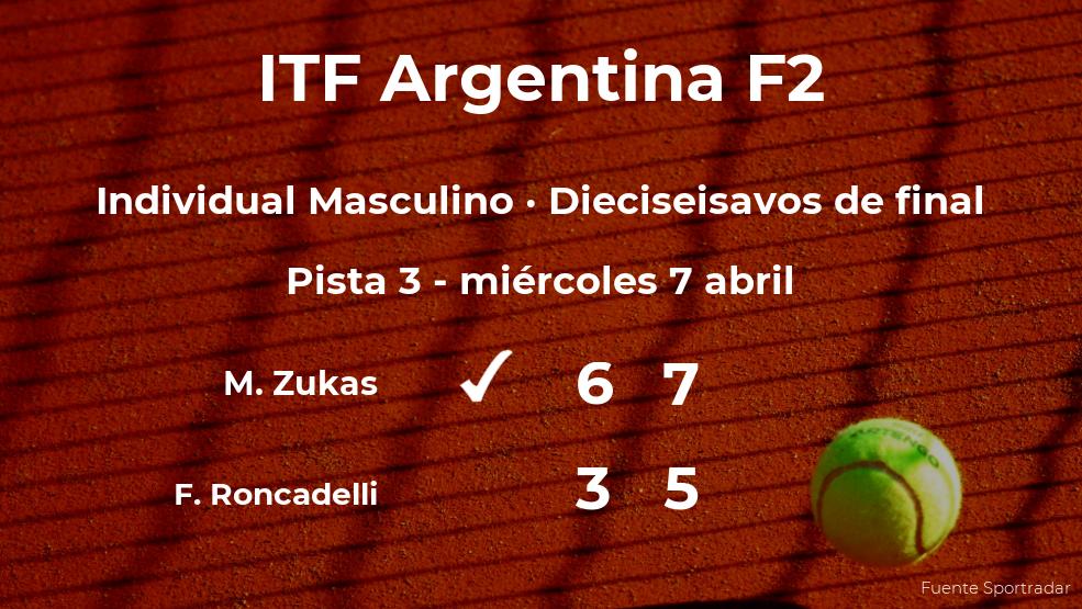El tenista Matias Zukas le arrebata el puesto de los octavos de final al tenista Franco Roncadelli