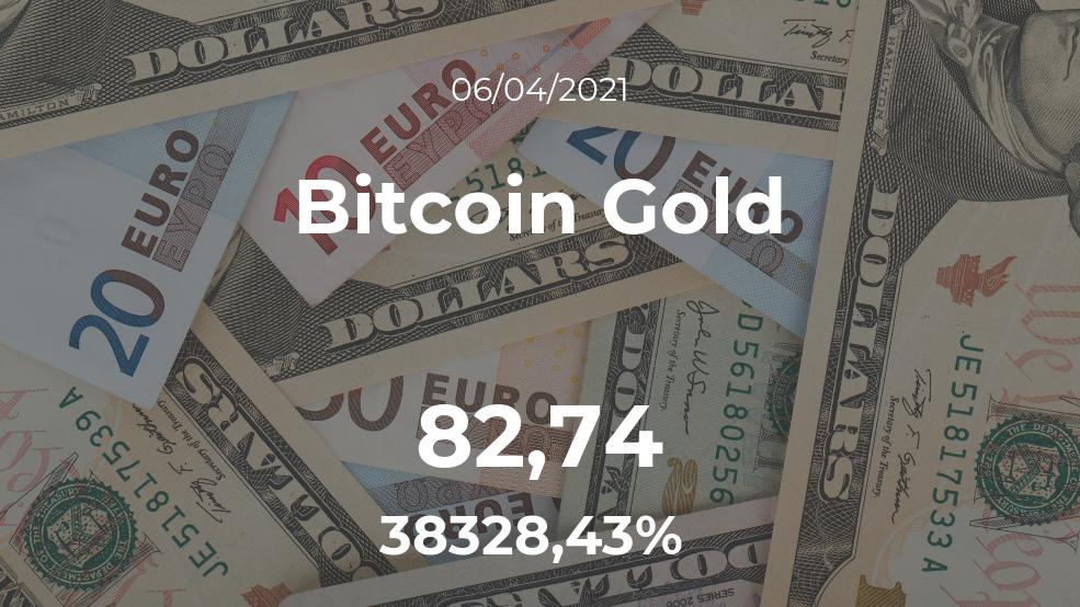 Cotización del Bitcoin Gold del 6 de abril