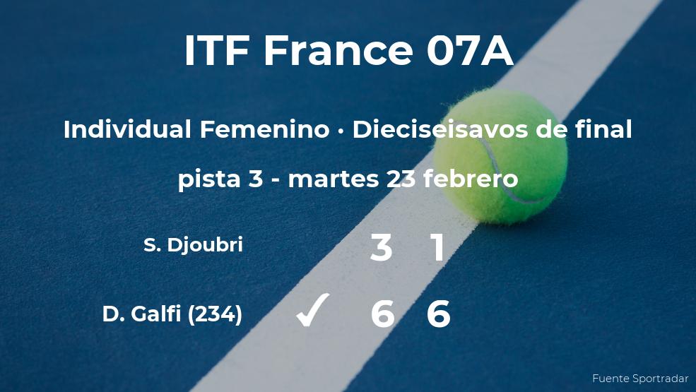 Dalma Galfi consigue el puesto de los octavos de final a expensas de la tenista Salma Djoubri