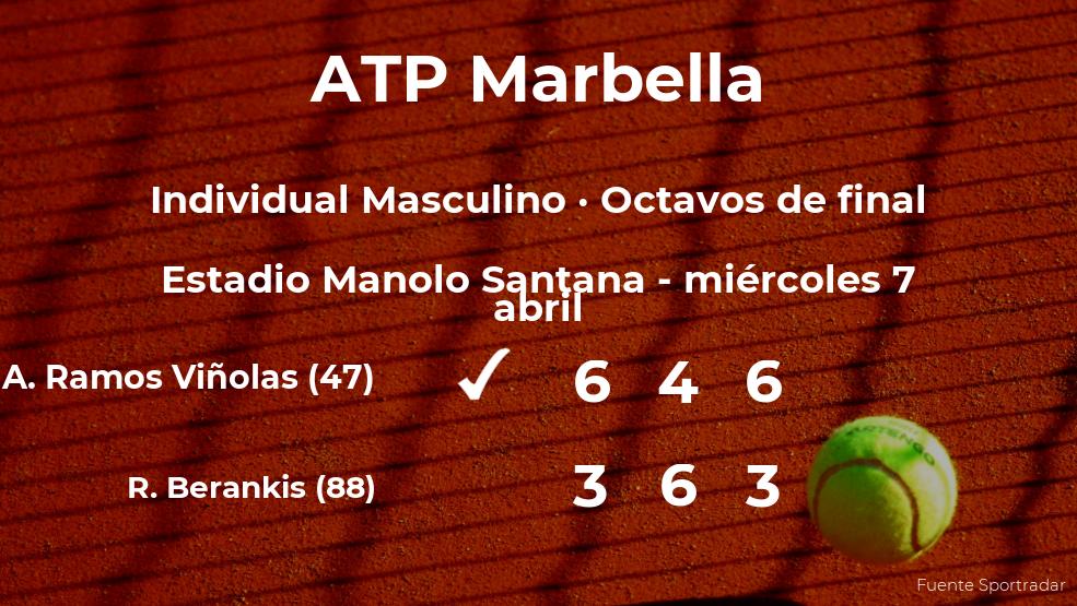 El tenista Albert Ramos Viñolas pasa a la próxima ronda del torneo ATP 250 de Marbella tras vencer en los octavos de final