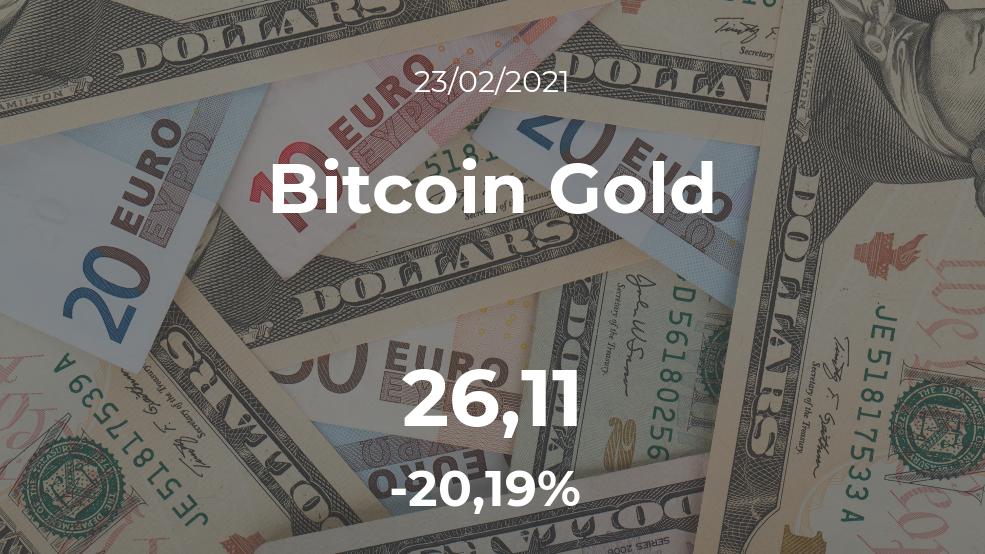 Cotización del Bitcoin Gold del 23 de febrero