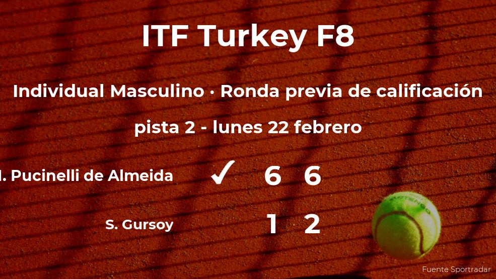 El tenista Matheus Pucinelli de Almeida ganó al tenista Suleyman Deniz Gursoy en la ronda previa de calificación del torneo de Antalya
