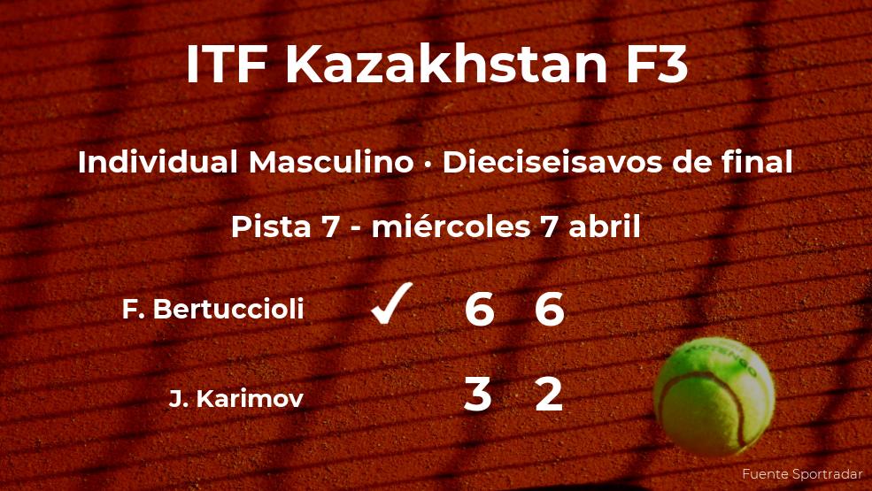 El tenista Federico Bertuccioli consigue el puesto de los octavos de final a costa del tenista Jurabek Karimov