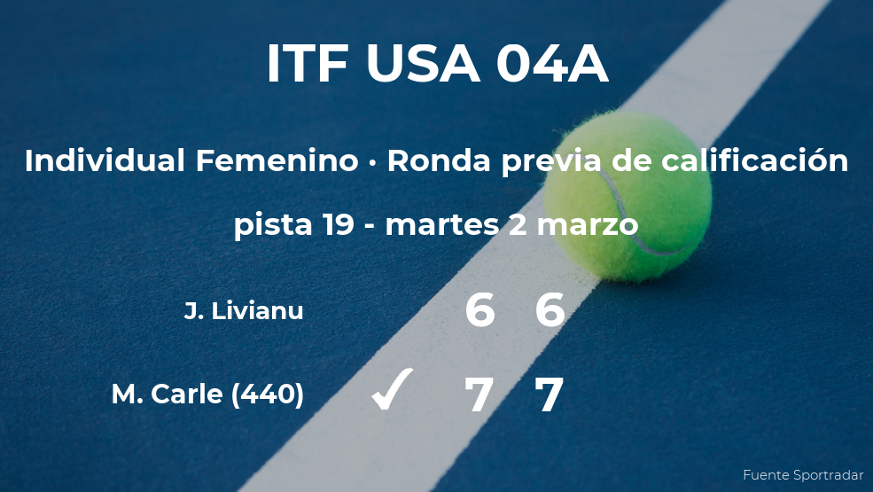 La tenista Maria Lourdes Carle logra vencer en la ronda previa de calificación contra Jessica Livianu
