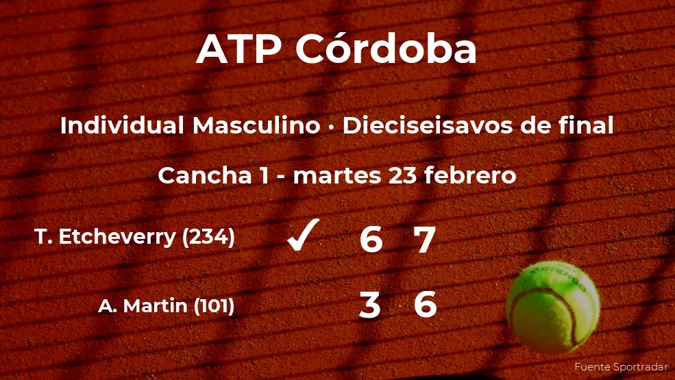 Tomas Martin Etcheverry logra clasificarse para los octavos de final a costa del tenista Andrej Martin