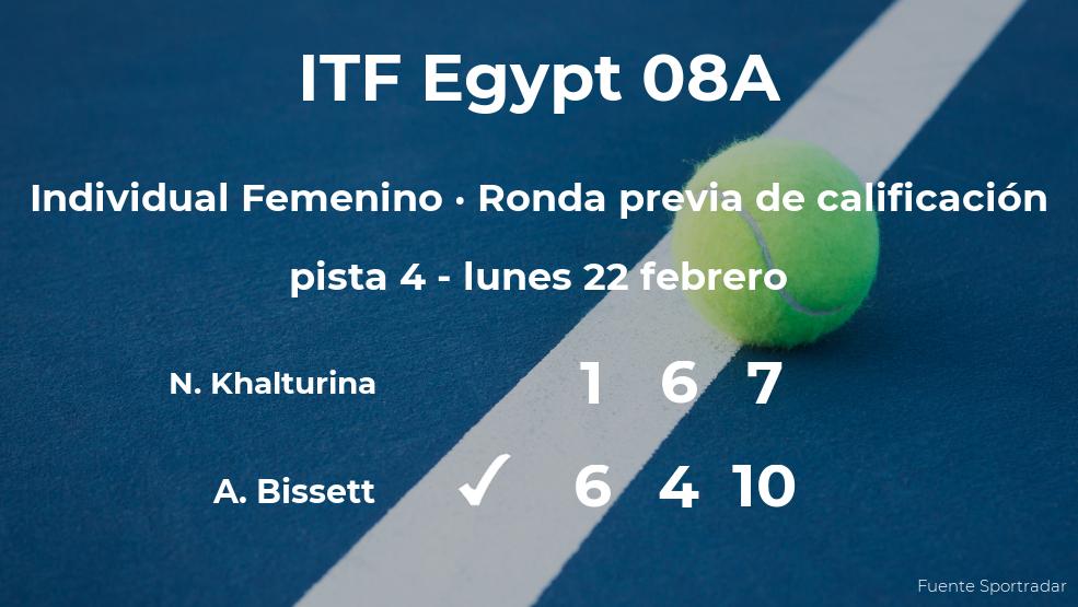 La tenista Amelia Bissett pasa a la siguiente fase del torneo de Sharm El Sheikh