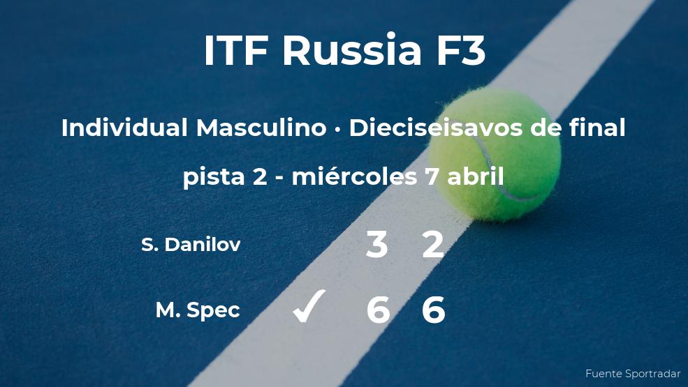 El tenista Matic Spec le quita el puesto de los octavos de final a Savriyan Danilov