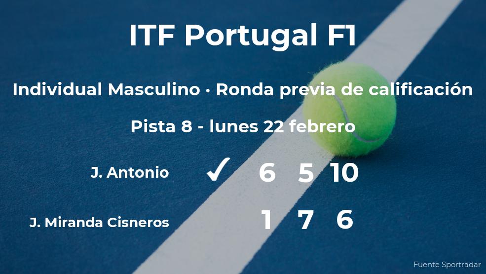 El tenista Jose Joaquin Miranda Cisneros cae eliminado en la ronda previa de calificación del torneo de Vale de Lobo