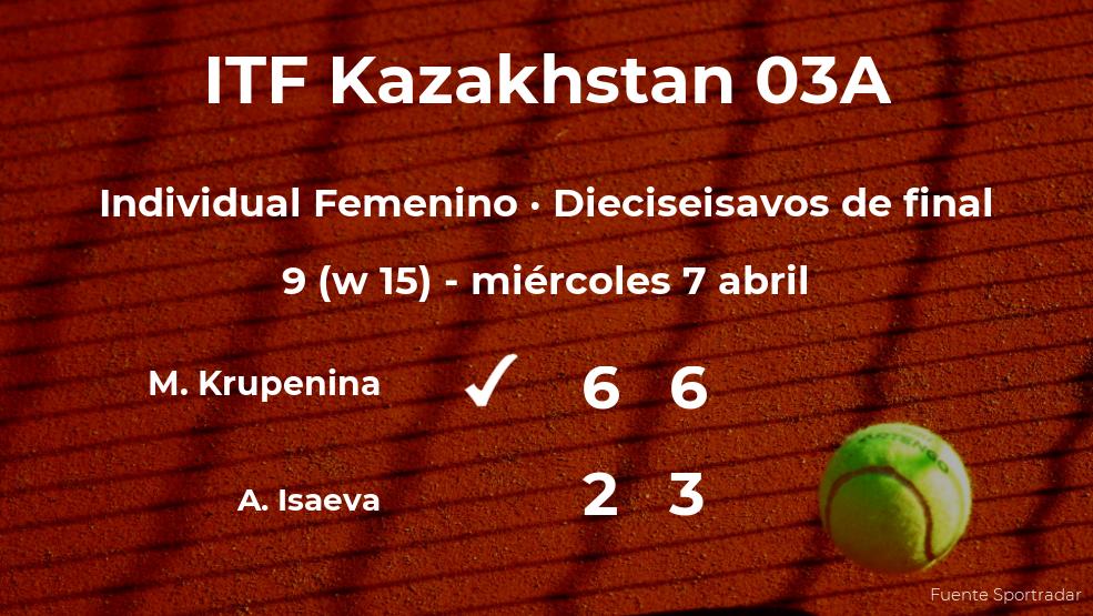Maria Krupenina pasa a los octavos de final del torneo de Shymkent
