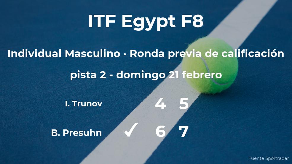 El tenista Bastien Presuhn vence en la ronda previa de calificación del torneo de Sharm El Sheikh