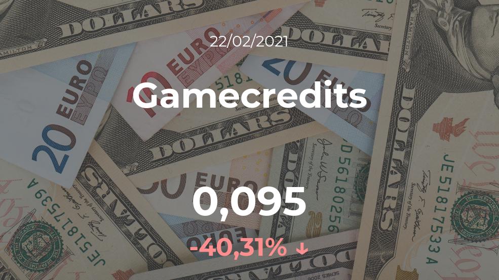 Cotización del Gamecredits del 22 de febrero