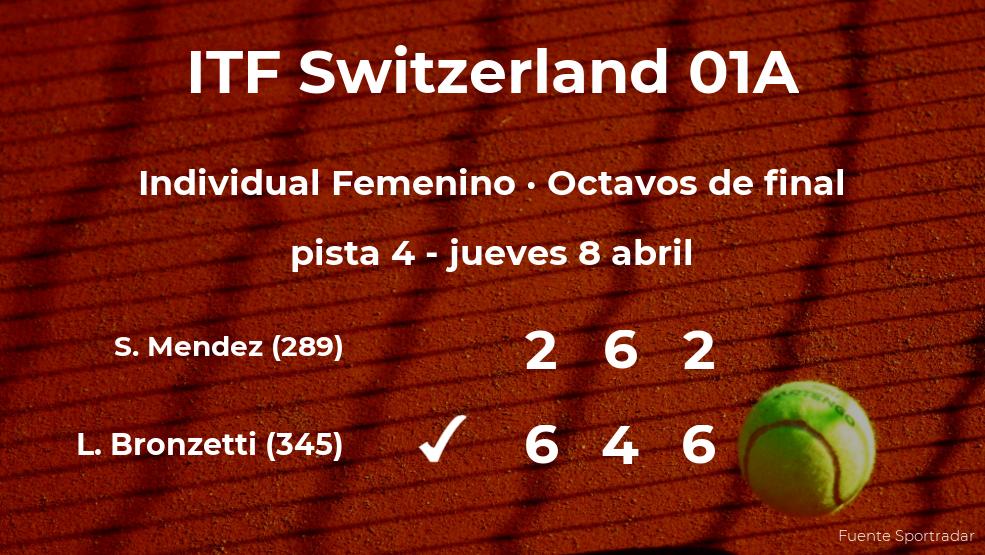 Lucia Bronzetti consigue clasificarse para los cuartos de final del torneo de Bellinzona