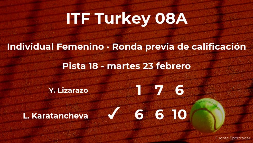 La tenista Lia Karatancheva logra vencer en la ronda previa de calificación a costa de la tenista Yuliana Lizarazo