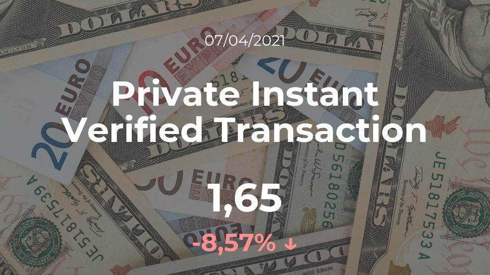 Cotización del Private Instant Verified Transaction del 7 de abril