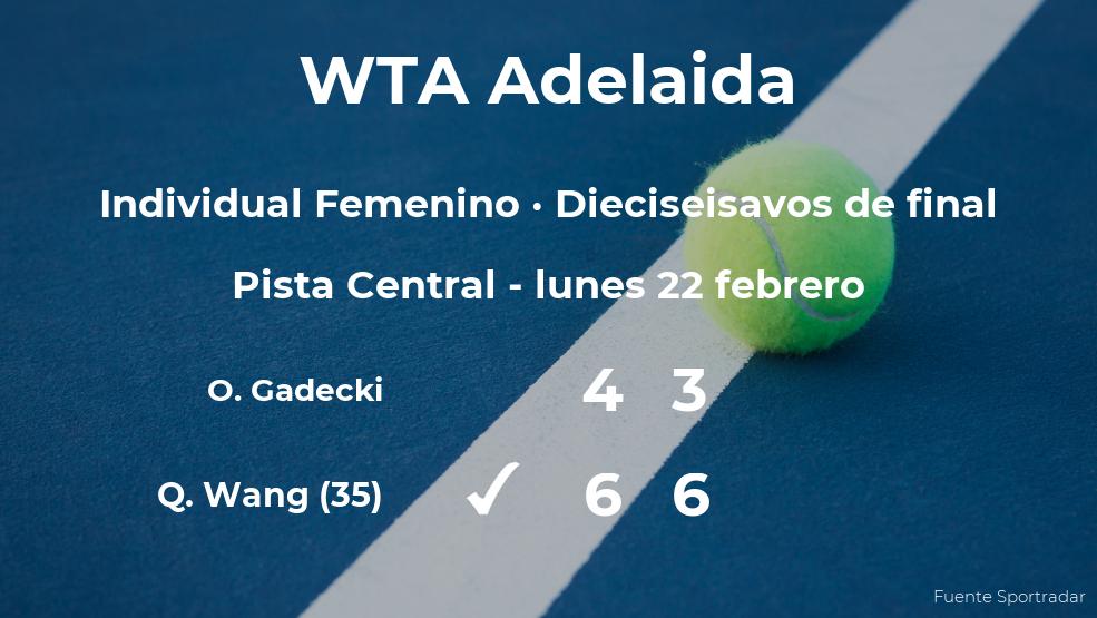 La tenista Qiang Wang consigue clasificarse para los octavos de final a costa de la tenista Olivia Gadecki