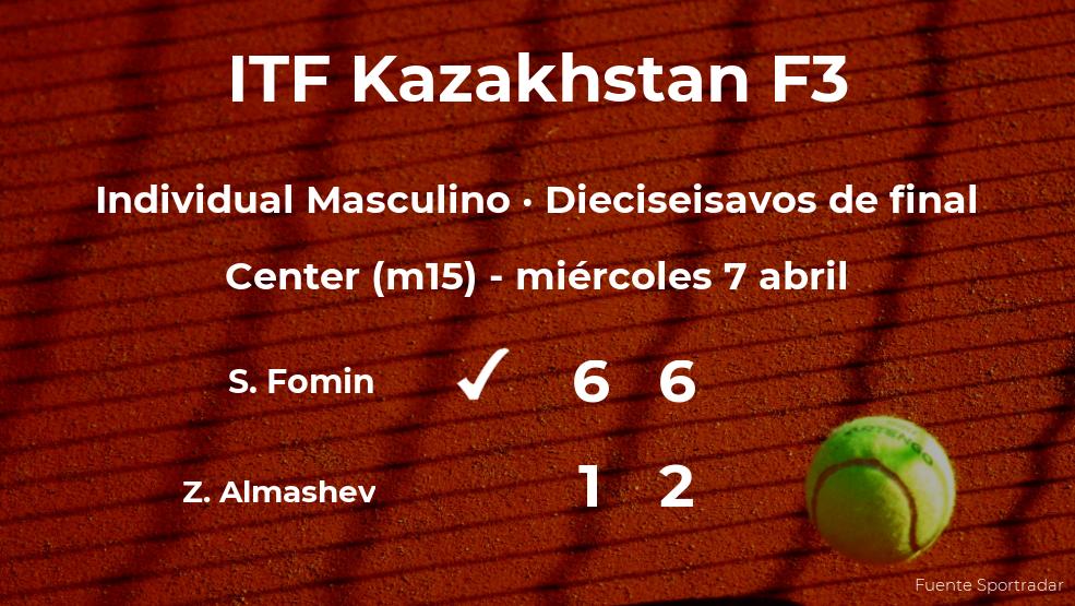 El tenista Sergey Fomin se hace con la plaza de los octavos de final a expensas del tenista Zhanger Almashev