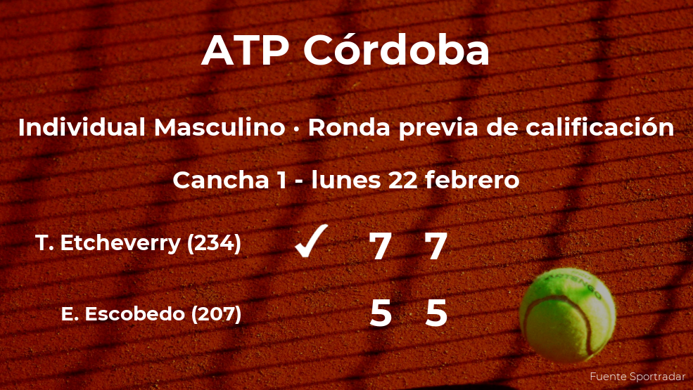 Tomas Martin Etcheverry vence en la ronda previa de calificación del torneo ATP 250 de Córdoba