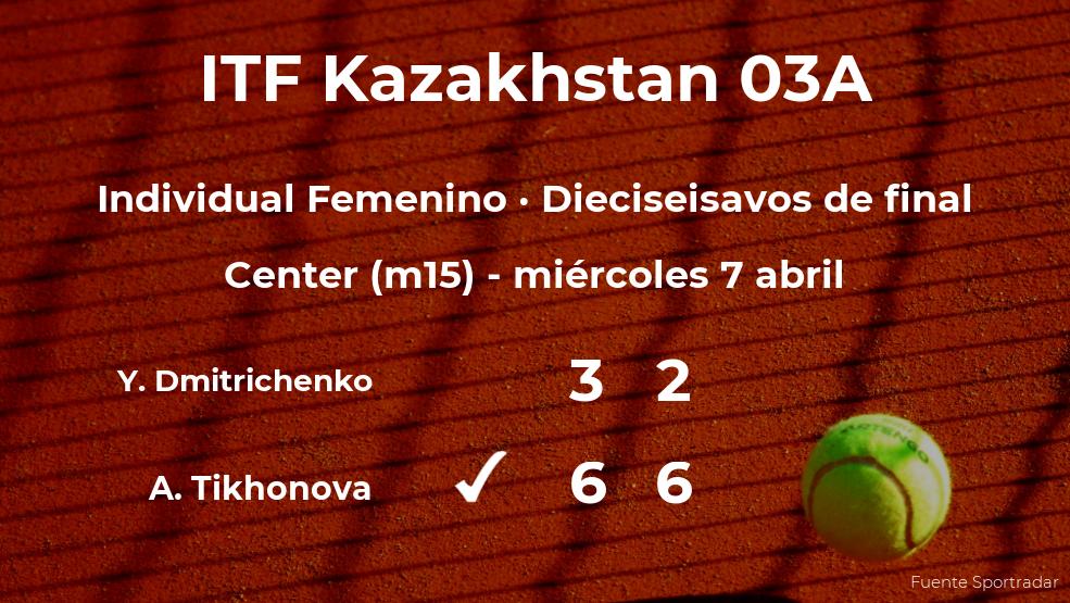 Anastasia Tikhonova logra clasificarse para los octavos de final a costa de Yekaterina Dmitrichenko