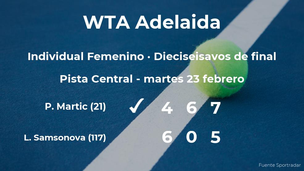 La tenista Petra Martic pasa a la próxima ronda del torneo WTA 500 de Adelaida tras vencer en los dieciseisavos de final